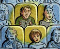 cartoon of man and woman sitting in movie theater