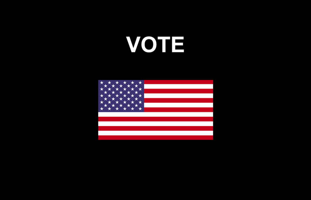 VOTE on black background with American Flag
